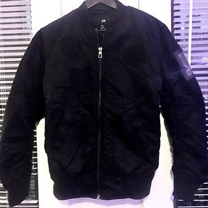 "H&M ""Weeknd"" Black Patch Bomber"